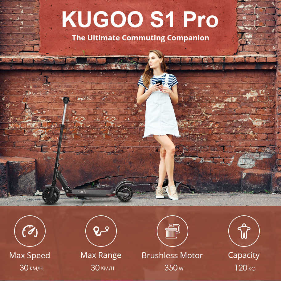 [Eu Voorraad] Kugoo S1 Pro Opvouwbare Elektrische Volwassen Scooter 350W Kick Scooter 30 Km/h Lcd-scherm E scooter Elektrische Max Bereik 30Km