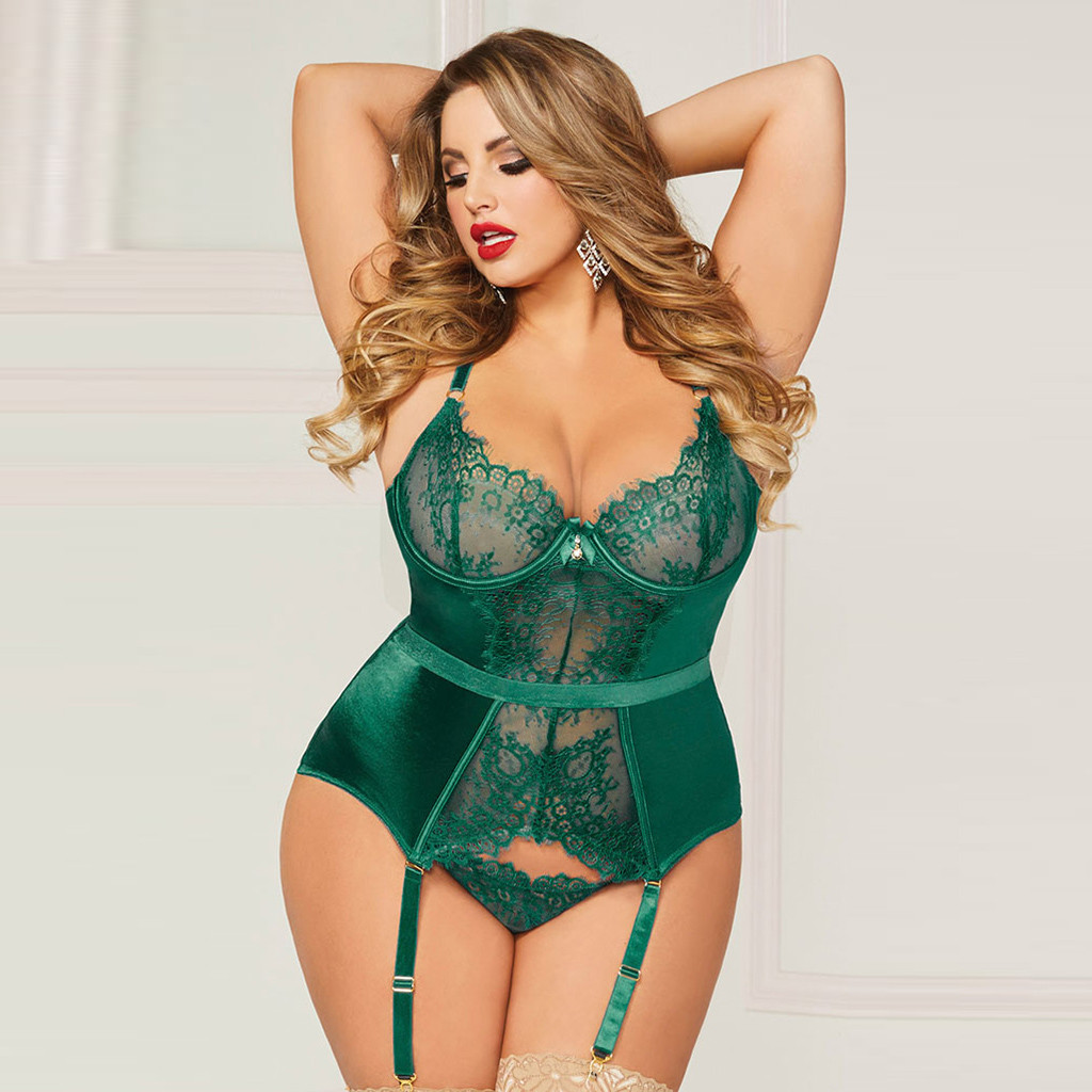 Women Lingerie Corset Lace Underwire Racy Muslin Two Piece Sleepwear Underwear Sexy Underwear Women Erotic Z0127