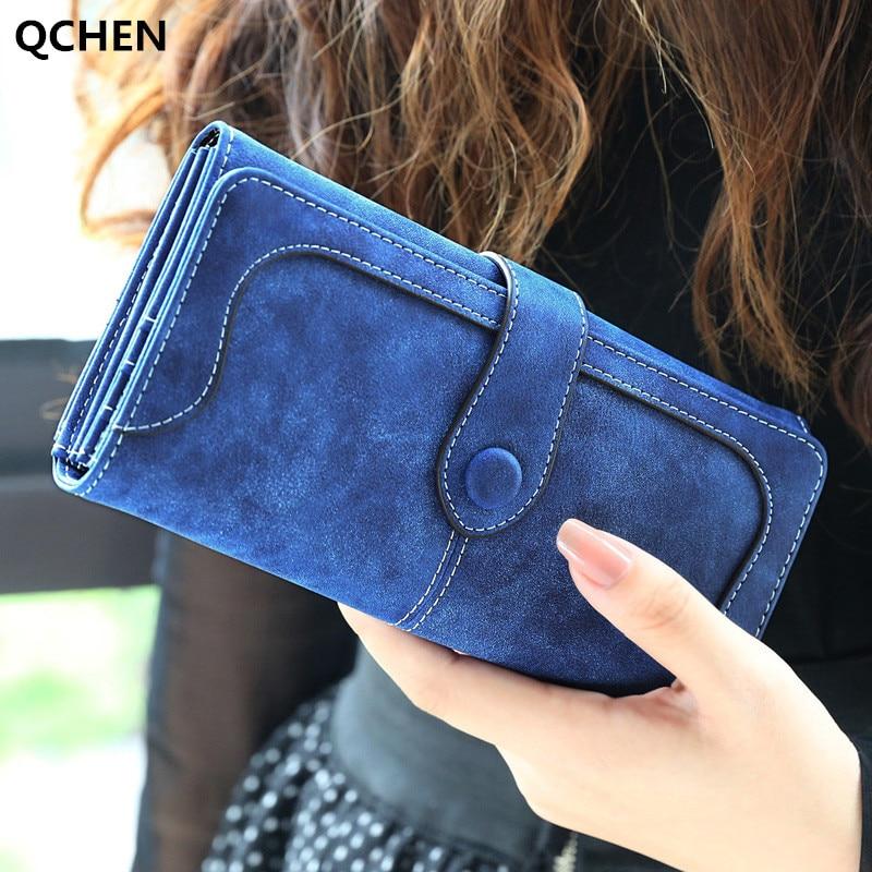 Women's Wallet Faux Suede Long Wallet Women Matte Leather Lady Purse High Quality Female Wallets Card Holder Clutch Carteras 610