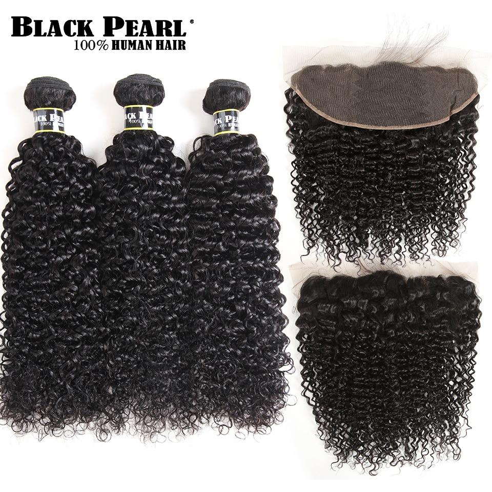 Schwarz Perle Brasilianische Verworrene Lockige Spitze Frontal Verschluss mit Bundles Nicht Remy Lockiges Haar 3 Bundles Mit 13x4 spitze Frontal