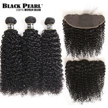 Cierre Frontal de encaje rizado brasileño perla negra con mechones no cabello Remy rizado 3 mechones con Frontal de encaje 13x4