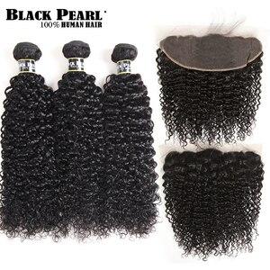 Image 1 - Pérola negra Brasileira Kinky Curly Lace Frontal Encerramento com Bundles Não Remy Cabelo Encaracolado Pacotes Com 13 3x4 lace Frontal