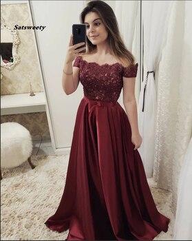2020 Off the Shoulder Burgundy Short Sleeves Lace Fancy Prom Dresses Formal Evening Dress pink off the shoulder bat sleeves mini dress