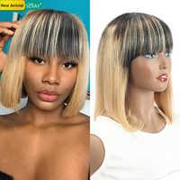 Sexay-pelucas de cabello humano Rubio degradado para mujer Peluca de pelo Remy brasileño con explosión de flequillo, cabello humano para mujer negra, Bob corto recto