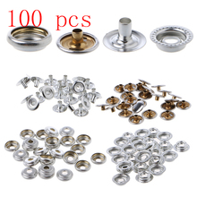 100 Pcs Stainless Steel Snap Fastener Press Stud Cap Button Marine Boat Canvas