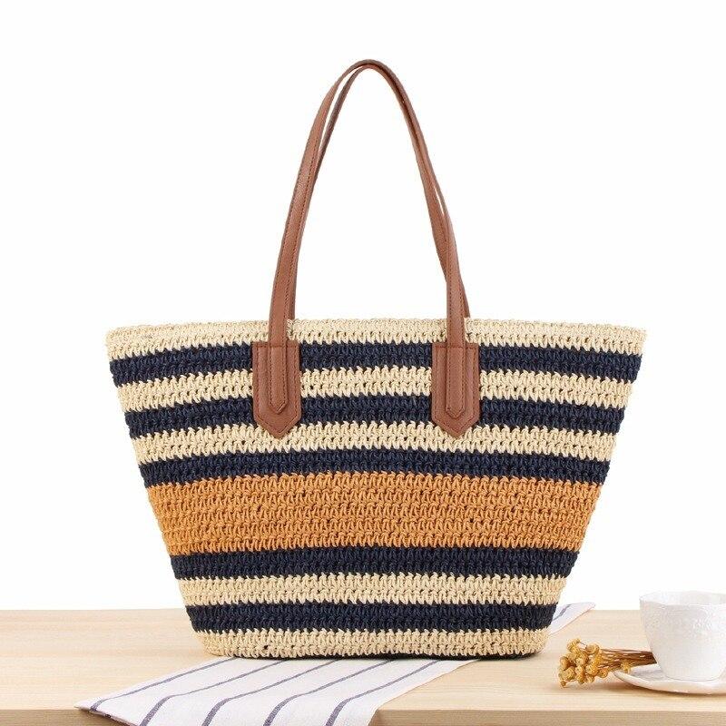 New Striped Shoulder Straw Bag Korean Ins Sen Holiday Vacation Woven Beach Leisure Bag