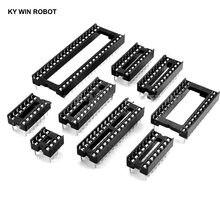Conector de tomada ic 2.54mm dip6, 10 peças de soquetes ic dip8 dip14 dip16 dip18 dip20 dip28, conector de pinos de mergulho 6 8 14 16 18 20 24 28 32 40 pinos