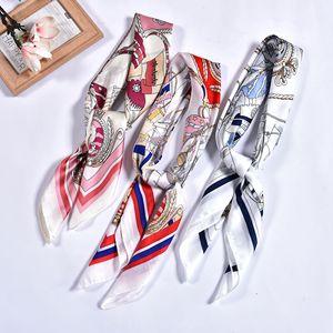 Image 4 - Damen gedruckt griff tasche multifunktionale foulard wraps hijab taschentuch kopf bandana imitiert silk moslemischer quadratischer schal