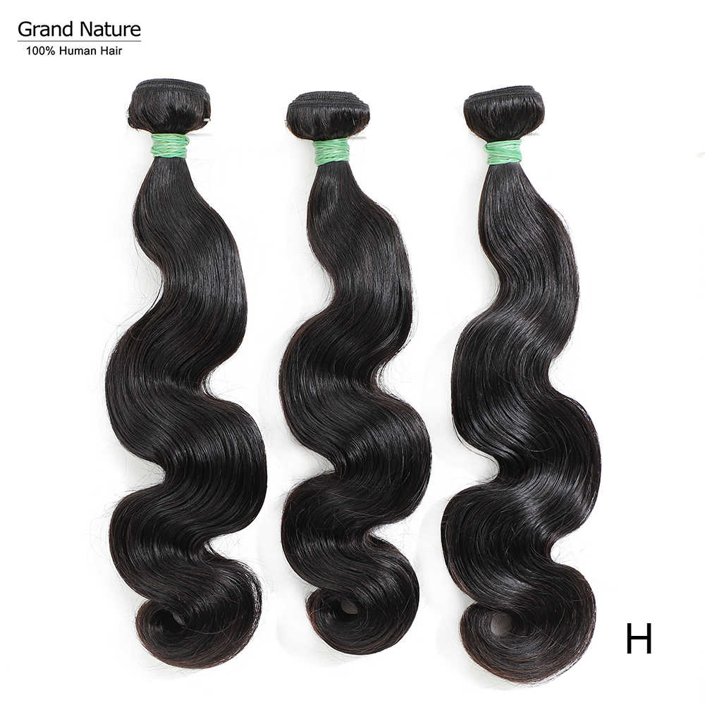 Grand Natuur Double Drawn Body Wave Braziliaanse Virgin Hair Weave Bundels 3/4 Human Hair Extension Natuurlijke Kleur Hoge Verhouding