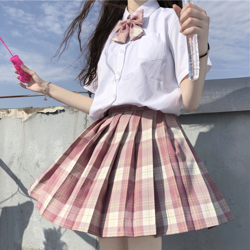 Jk Uniform Plaid Pleated Skirt High Waist A-line Skirt  Student Summer Lolita Dress Women Kawaii Clothing Loli Jk