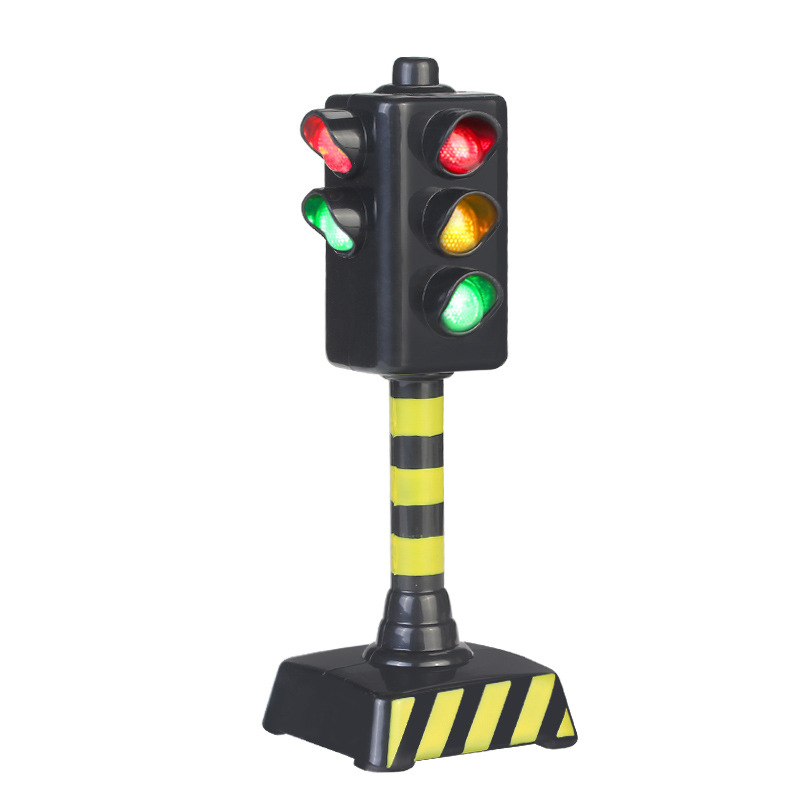 Mini Traffic Signal Light Toy Model Simulation Road Sign Scene Sound LED Kid Traffic Safe Education Learning Toy Car Accessories