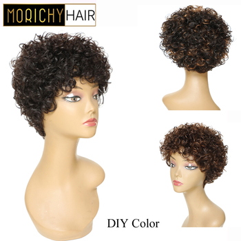 Morichy Funmi Curly Short Cut Full Wigs 8 inch Indian NON-Remy Real Human Hair DIY Mix Medium Brown Vintage Hairstyles Wigs