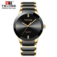 TEVISE brand watches men quartz business fashion casual watch full steel date women lover couple 30m waterproof wristwatches