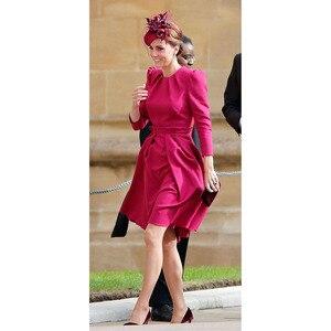 Image 1 - Princess Kate Middleton Dress 2020 Woman Dress O Neck Wrist Sleeve Elegant Dresses Work Wear Clothes NP0785J