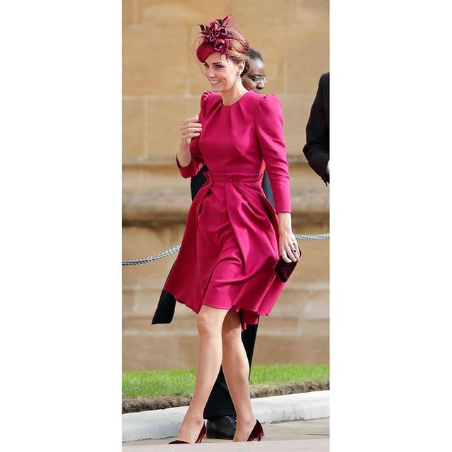 Princess Kate Middleton Dress 2020 Woman Dress O Neck Wrist Sleeve Elegant Dresses Work Wear Clothes NP0785J