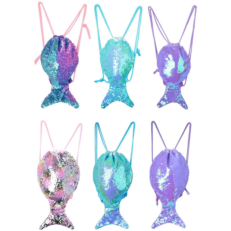 1 PC Mermaid Tail Sequins Drawstring Backpack Women Girls Lovely Mermaid Tail Drawstring Bag Travel Portable Bag Dropship New