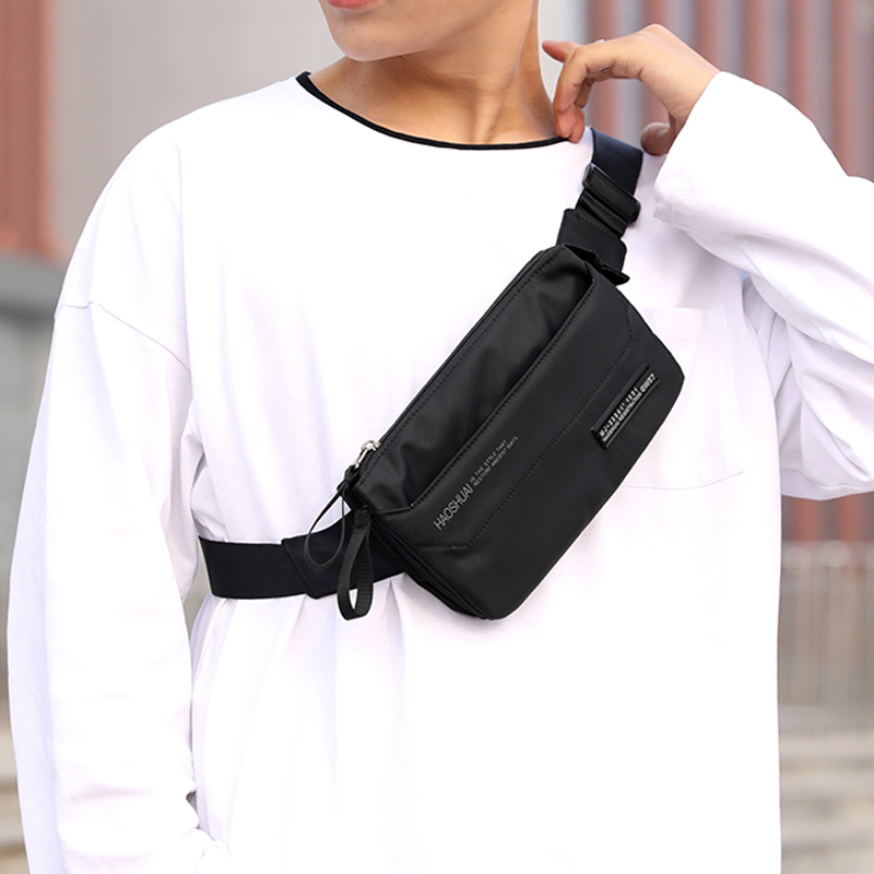 Men Nylon 4 Pockets Waterproof Women Waist Bag Fashion Male Simple Wear Resistant Black Fanny Pack Phone Pouch Chest Bags G204(China)