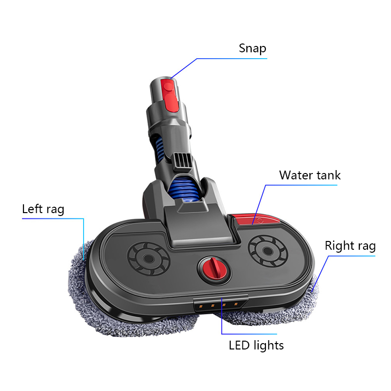 Tools : Replaceable Parts With Mop Head Dyson V6   DC V7 V8 V10 V11 Electric Wet And Dry Mop Head With LED Light Mop Pad Water Tank