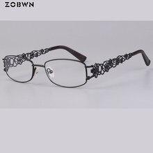 Montura de gafas para mujer, lentes Retro con borde completo, decoración floral, gafas con patillas de grau