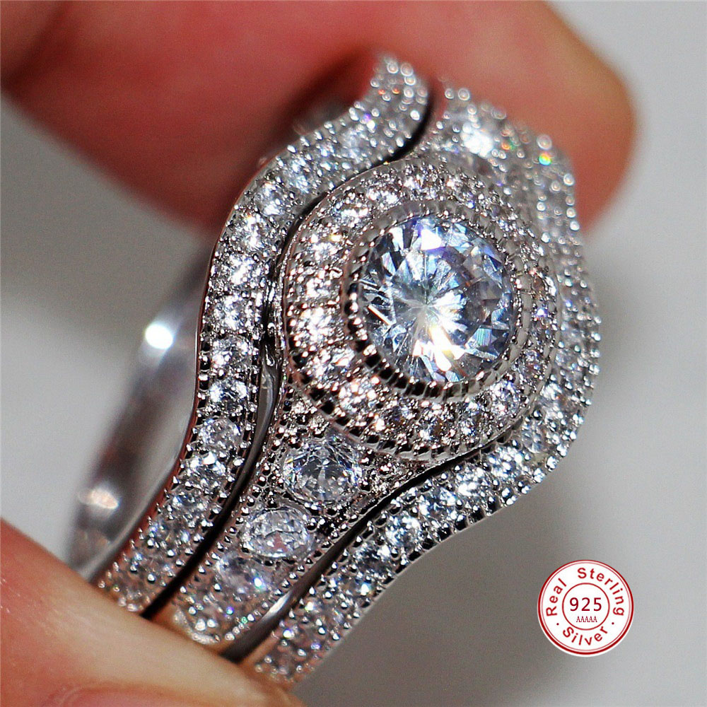 3Pcs/Set 2019 Luxury Round Cut AAA Zircon Crystal Rings For Women 925 Sterling Sliver Wedding Female Rings Set Jewelry