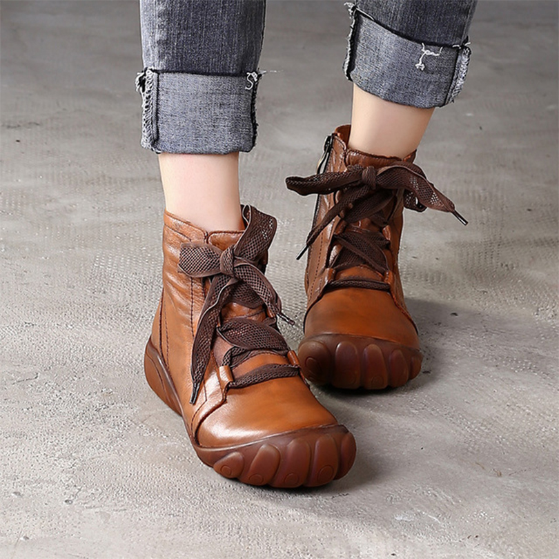 Pleine fleur en cuir véritable naturel bottes chaussures marron à la main rétro la semelle à l'intérieur de la couture chaussures d'hiver pour les femmes 2019