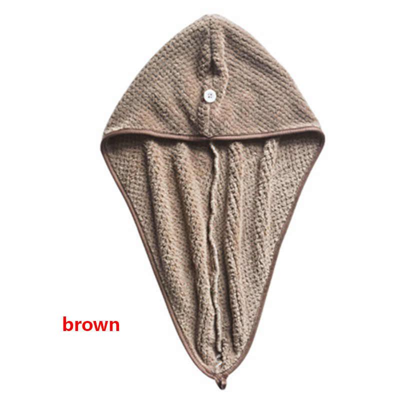 ปะการังกำมะหยี่ผมแห้งผ้าขนหนูแห้งเร็วปุ่มผ้าขนหนู Turban แห้งผ้าเช็ดตัวคู่ด้าน Magic ไมโครไฟเบอร์หมวก