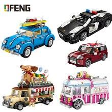 LOZ Technic mini klocki pojazd Model samochodu klocki samochód wyścigowy sprzedaż lody Hotdog ciężarówka cegły zabawki edukacyjne prezenty