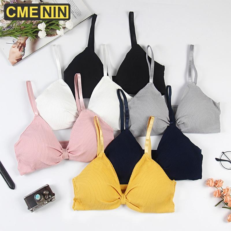 CMENIN Push Up coton femmes sous-vêtements Lingerie soutien-gorge solide dos nu respirant poitrine Bustier haut court avec des tasses été B0145