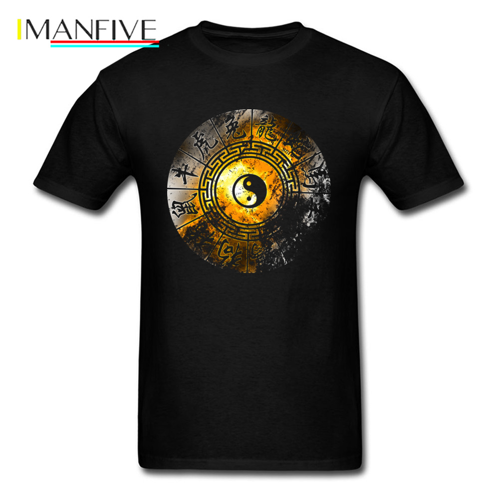 Chinese Zodiac CZ Yin Yang Tai Chi Symbol T Shirts Father Grandpa Cool T-Shirts Mens Sleeved Natural Cotton Comfortable Tshirts image