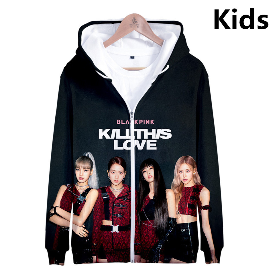 3 To 14 Years Kids Hoodie 3D BLACKPINK The Same Style Hoodies Sweatshirt Boys Girls Fashion Harajuku Jacket Coat Teen Clothes