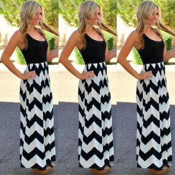 Female Long Boho Dress Lady Beach Summer Sundrss Maxi Dress Striped Long Boho Dress Lady