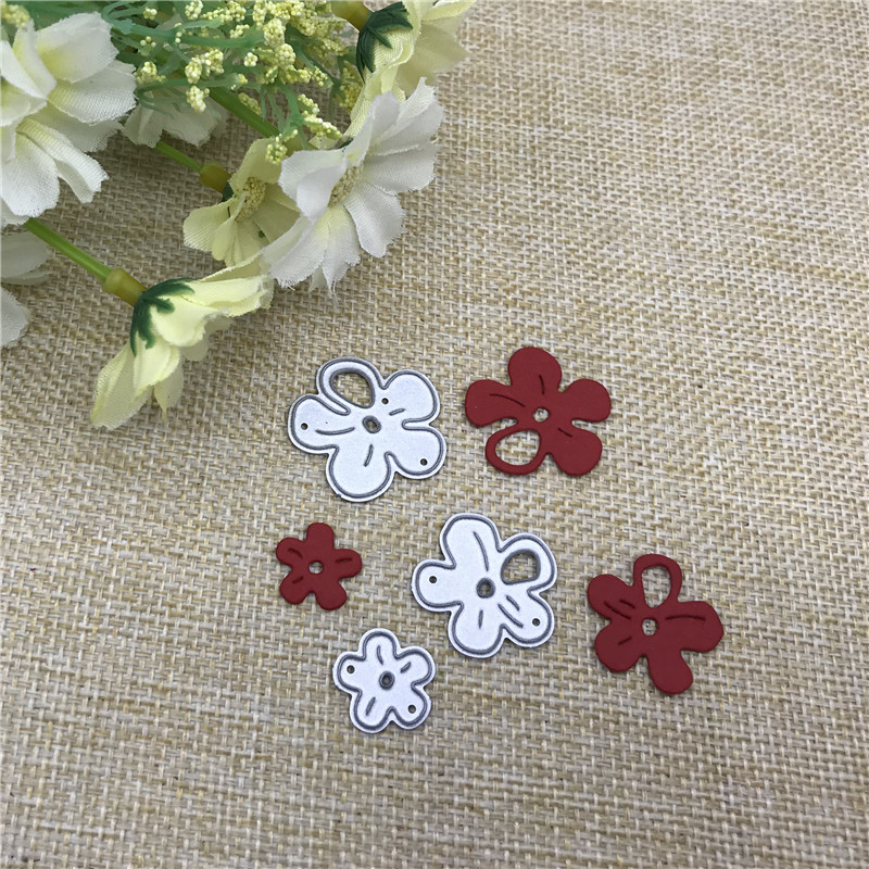 3pcs Cherry Blossom Frame Metal Cutting Dies Stencils For DIY Scrapbooking Decorative Embossing Handcraft Die Cutting Template
