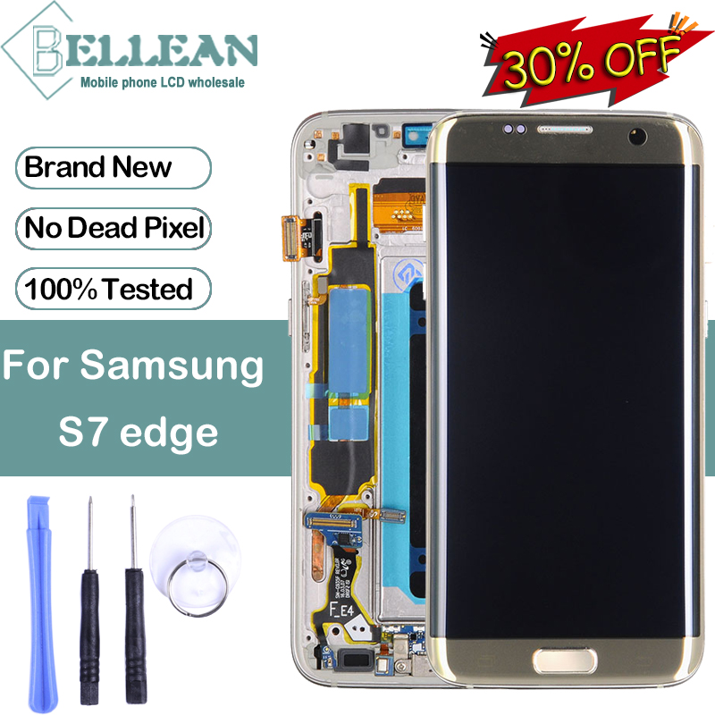 Dinamico Promotion For <font><b>Samsung</b></font> <font><b>Galaxy</b></font> <font><b>S7</b></font> Edge <font><b>Display</b></font> Touch Screen Digitizer <font><b>Assembly</b></font> G935 Lcd G935F <font><b>Display</b></font> With Frame+Tools image