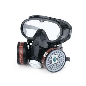 Image 1 - Atemschutzmaske Gas Maske Sicherheit Chemische Anti Staub Filter Military Auge Goggle Set Arbeitsplatz Malerei Spritzen Sicherheit Protec