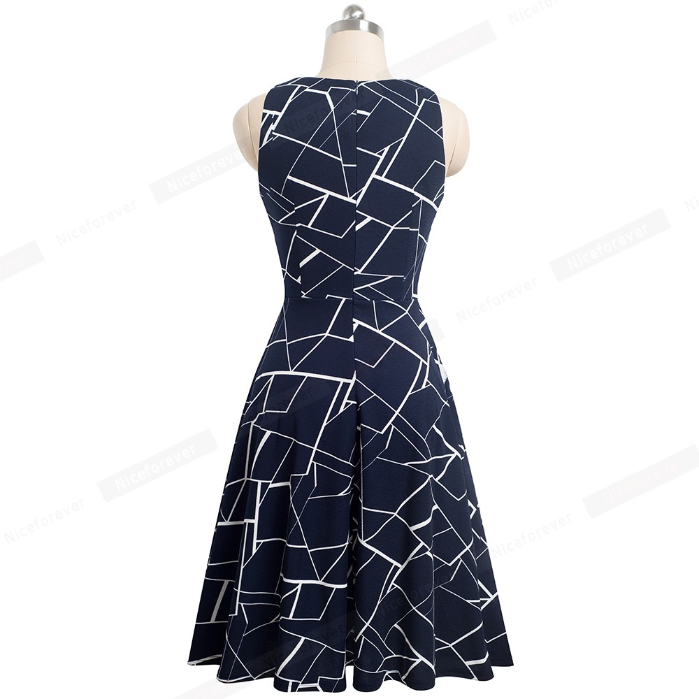 Nice-forever Vintage Elegant Embroidery Floral Lace Patchwork vestidos A-Line Pinup Business Women Party Flare Swing Dress A079 11
