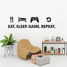 Eat Sleep Game Sticker Repeat Play Room Decal Gaming Posters Gamer Vinyl Wall Decals Parede Decor Mural Video