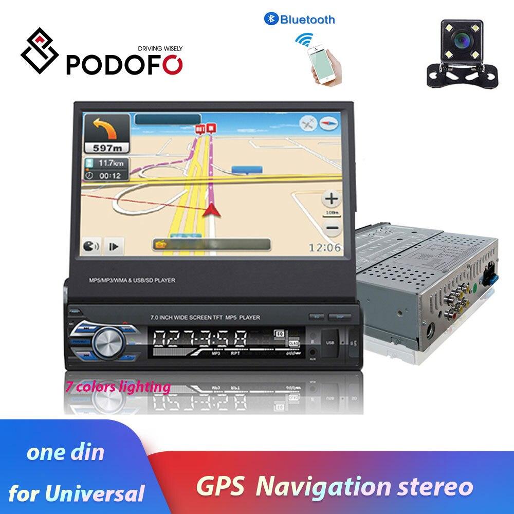 Podofo 7 Android Mirror Link Autoradio MP5 lecteur Bluetooth GPS DVD AUX-IN/FM Autoradio multimédia pour Audio stéréo universel