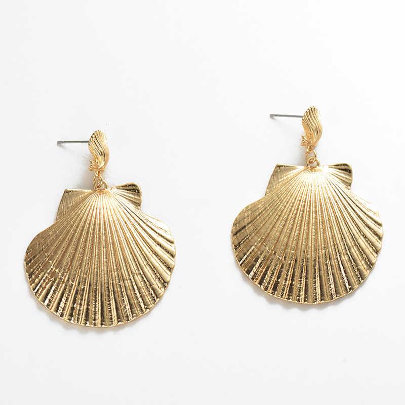 Febre & Livre de Alta Qualidade Bohemian Simulado Brincos Do Escudo Do Mar Para As Mulheres Brincos de Ouro Senhoras da Praia do Verão Moda Jóias