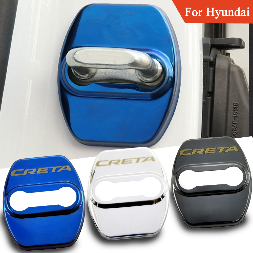 FLYJ 4PCS Car Door Lock Cover Protect Buckle Cover Latch Stop Anti Rust Car Accessories For Hyundai Creta Car Sticker