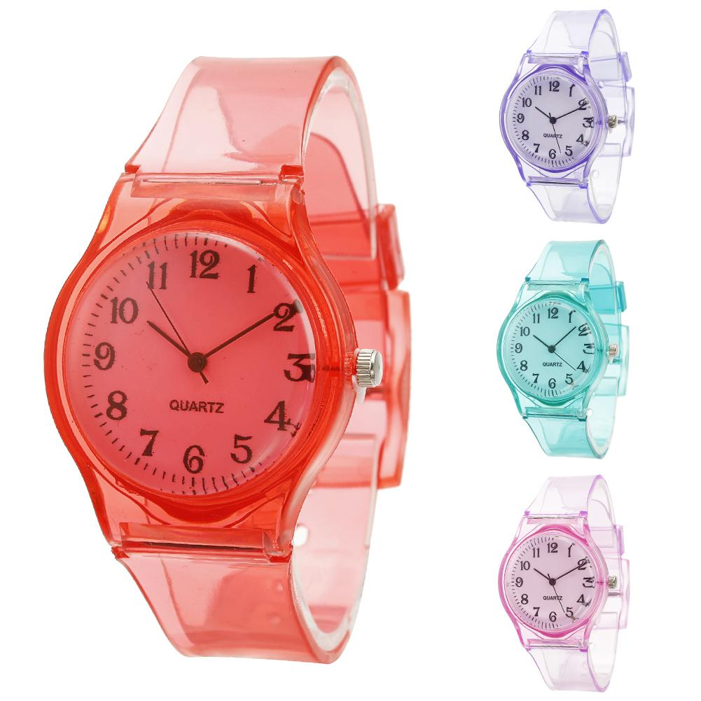 Solid Color Transparent Silicone Watch Unisex Jelly Color Round Dial Transparent Silicone Band Analog Quartz Watch Gift