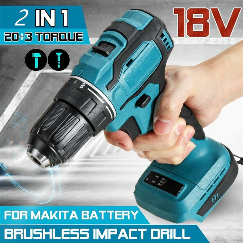 18V 90Nm Electric Cordless Drill Brushless Impact Drill Electric Screwdriver Power Tools Rechargeable For Makita Battery