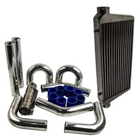 Aluminum front mount Intercooler 600×300×76 + 76mm pipe kits + Blue hose