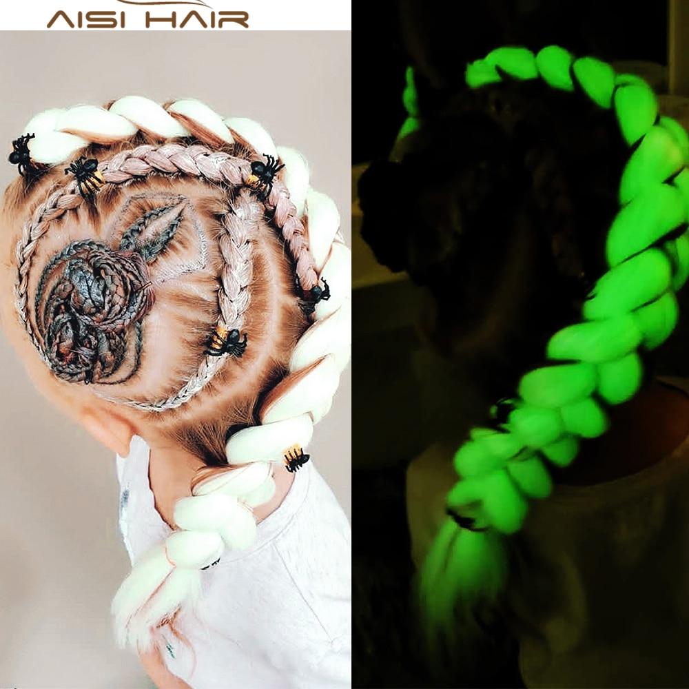 AISI HAIR Fluorescence  Braiding Hair Jumbo Braids Neon Glowing Hair Synthetic Braids Kanikalon For White Women Shining  Hair