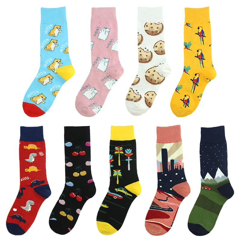 Fashion Creative Funny Women Men Socks Cotton Cartoon Food Animal  Harajuku Kawaii Happy Novelty Design Dinosaur Crew Socks