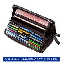 Genuine leather RFID Blocking Wallet Zipper Coin Pocket Long Purse Passport Cover Men Card Holder Purse