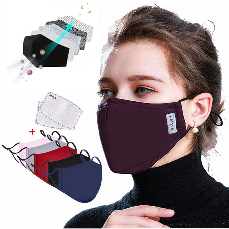 Mouth Mask Adult Cotton Anti Dust Mask Activated Carbon Filter Windproof Mouth-muffle Washable Reusable Face Masks