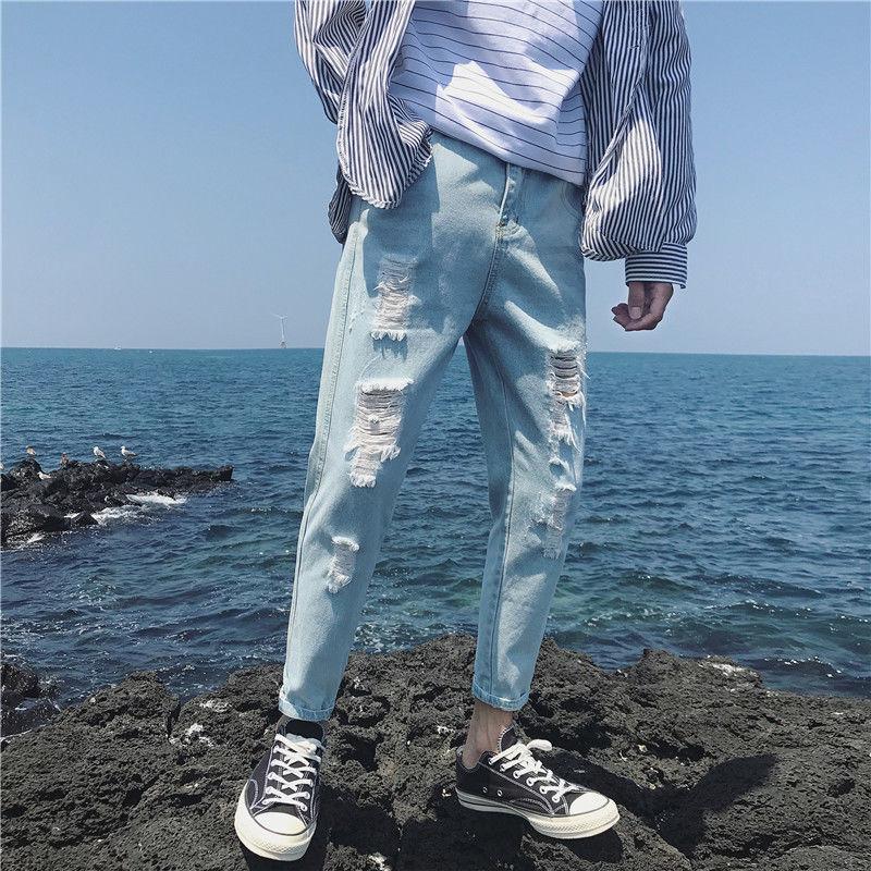 Summer Thin Section With Holes Jeans Men's Loose-Fit Capri Pants Light Color Harem Ripped Jeans BOY'S Korean-style Trend Versati