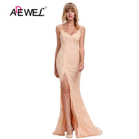ADEWEL Sexy Lace Embroider V neck Lace Lacy Bridal Gowns Long Dresses Evening Party Dress