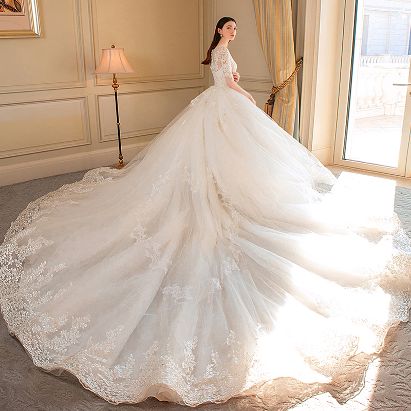 Sexy O Neck Ivory Royal Train Ball Gown Wedding Dress 2019 Luxury Lace Half Sleeve Lace Up Princess Wedding Gowns