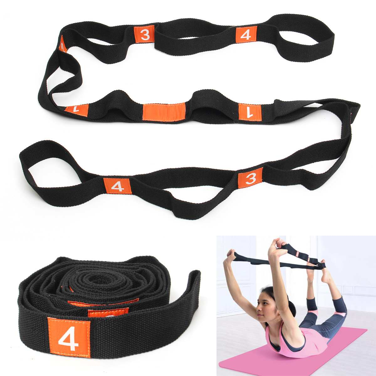 Multi-Grip Loops Yoga Stretch Strap Waist Leg Back Pilates Fitness Exercise Belt Exercise Tools
